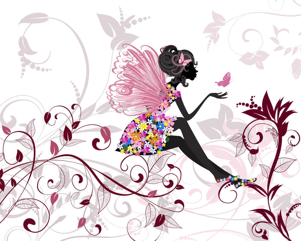 Butterfly fairy and garden